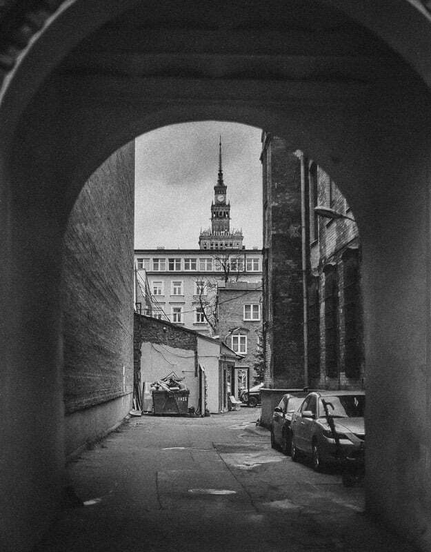 Warszawa, widok z podwórza na PKiN